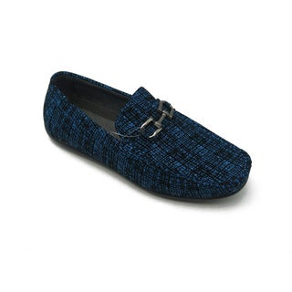 Mecca Men's Blue Faux-leather Slip-on Loafer Driver Shoes