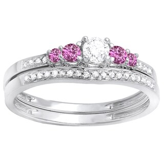 14k White Gold 1/2ct TW Round Pink Sapphire and Diamond 5-stone Bridal Ring Set (H-I, I1-I2)