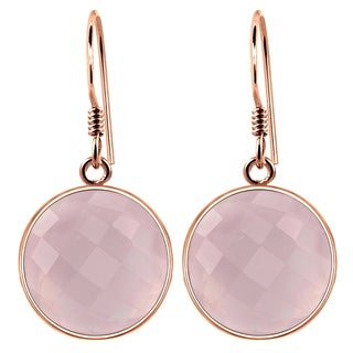 Orchid Jewelry Rose Gold Plated 925 Silver 15 3/4 Carat Checker Cut Rose Quartz Bezel Earrings