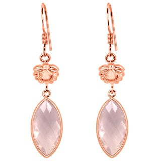 Orchid Jewelry Rose Gold Overlay 925 Silver 9 Carat Rose Quartz Dangle Earrings