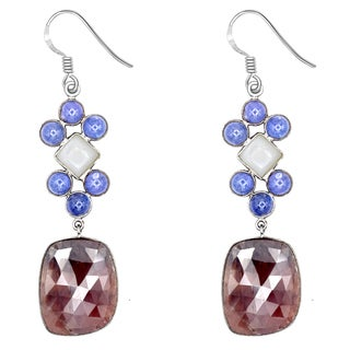 Orchid Jewelry One of a Kind 925 Sterling Silver 73 2/3 Carat Ruby, Moonstone and Tanzanite Earrings