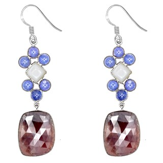 Orchid Jewelry One of a Kind 925 Sterling Silver 73 2/3 Carat Ruby, Moonstone & Tanzanite Earrings