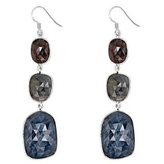 Orchid Jewelry One of a Kind 925 Sterling Silver 54 1/2 Carat Sapphire and Ruby Dangle Earrings