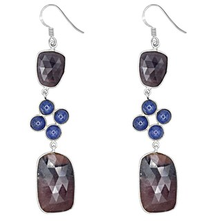 Orchid Jewelry One of a Kind 925 Sterling Silver 64 1/4 Carat Sapphire and Tanzanite Dangle Earrings