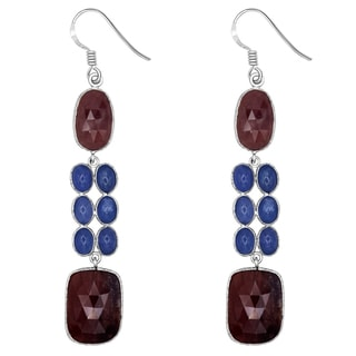 Orchid Jewelry One of a Kind 925 Sterling Silver 57 2/9 Carat Ruby and Tanzanite Dangle Earrings
