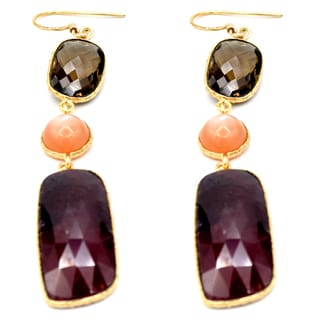 Orchid Jewelry One of a Kind 14k Yellow Gold Over Silver 65 Carat Ruby, Orange Moonstone and Smoky Quartz Earrings