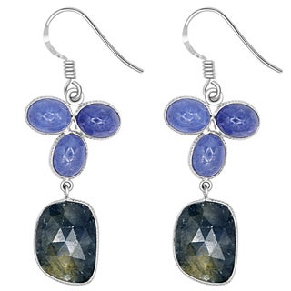 Orchid Jewelry One of a Kind 925 Sterling Silver 30 Carat Sapphire and Tanzanite Dangle Earrings