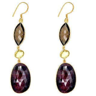 Orchid Jewelry One of a Kind 18k Gold Over Silver 88 Carat Ruby, Lemon Quartz and Smoky Quartz Earrings