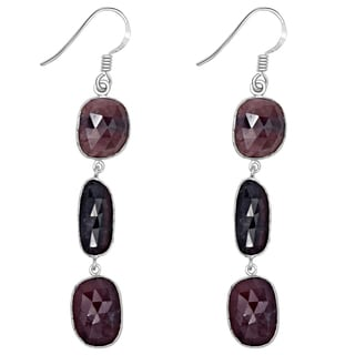 Orchid Jewelry One of a Kind 925 Sterling Silver 47 Carat Ruby and Sapphire Gemstone Earrings