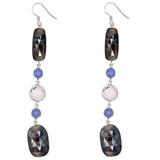 Orchid Jewelry One of a Kind 925 Sterling Silver 47 Carat Sapphire, Quartz and Tanzanite Earrings