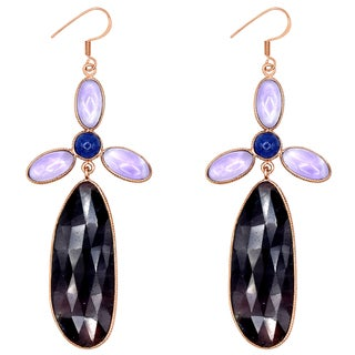 Orchid Jewelry One of a Kind Rose Gold Overlay Silver 68 4/5 Carat Sapphire, Amethyst and Tanzanite Earrings