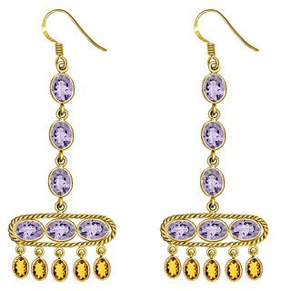 Orchid Jewelry Yellow Gold Overlay Silver 12 2/3 Carat Oval Cut Amethyst & Citrine Long Earrings