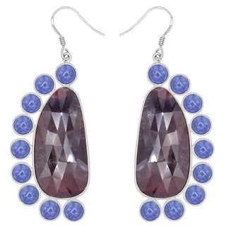 Orchid Jewelry One of a Kind 925 Sterling Silver 82 1/7 Carat Sapphire and Tanzanite Dangle Earrings