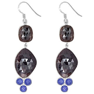 Orchid Jewelry One of a Kind 925 Sterling Silver 70 4/7 Carat Sapphire and Tanzanite Earrings