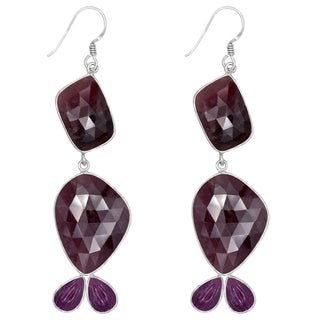 Orchid Jewelry One of a Kind 925 Sterling Silver 71 3/4 Carat Sapphire and Ruby Earrings