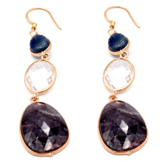 Orchid Jewelry One of a Kind Rose Gold Over 925 Silver 54 7/9 Carat Sapphire and Crystal Quartz Earrings