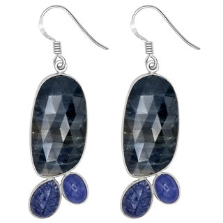Orchid Jewelry One of a Kind 925 Sterling Silver 48 1/8 Carat Sapphire and Tanzanite Earrings