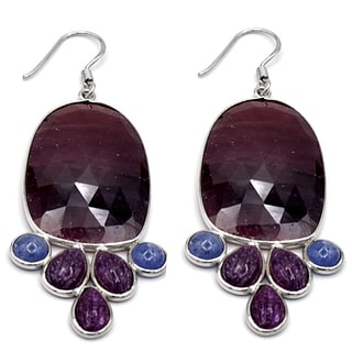 Orchid Jewelry One of a Kind 925 Sterling Silver 75 1/4 Carat Sapphire, Ruby and Tanzanite Earrings