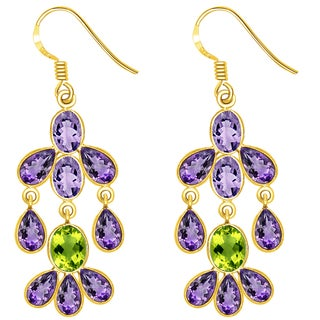Orchid Jewelry 18k Gold Over Sterling Silver 17 1/2 Carat Amethyst and Peridot Dangle Earrings