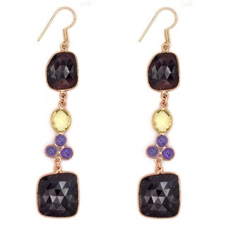 Orchid Jewelry One of a Kind Rose Gold Over Sterling Silver 65 4/7 Carat Sapphire, Amethyst and Lemon Quartz Earrings