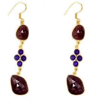 Orchid Jewelry One of a Kind Yellow Gold Over Sterling Silver 41 Carat Sapphire and Amethyst Earrings
