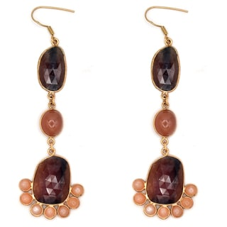 Orchid Jewelry One of a Kind Rose Gold Over Sterling Silver 82 2/3 Carat Sapphire and Orange Moonstone Earrings