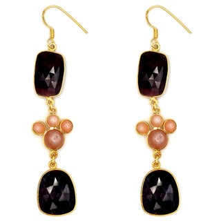 Orchid Jewelry One of a Kind Yellow Gold Over Sterling Silver 54 1/5 Carat Sapphire and Orange Moonstone Earrings