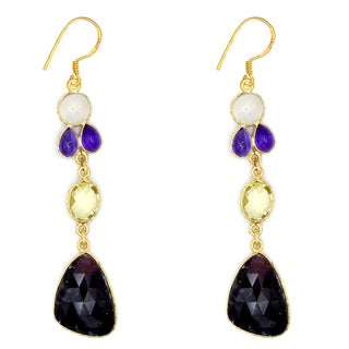 Orchid Jewelry One of a Kind Yellow Gold Over Sterling Silver 46 Carat Multi Gemstones Earrings