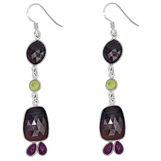 Orchid Jewelry One of a Kind 925 Sterling Silver 40 Carat Sapphire, Peridot and Ruby Earrings