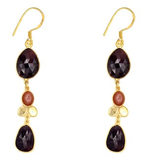 Orchid Jewelry One of a Kind Yellow Gold Over Sterling Silver 51 Carat Sapphire, Moonstone and Lemon Quartz Earrings