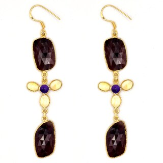 Orchid Jewelry One of a Kind 14k Gold Over Sterling Silver 51 1/9 Carat Sapphire, Amethyst and Citrine Earrings