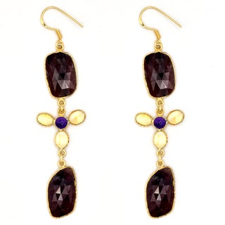 Orchid Jewelry One of a Kind 14k Gold Overley Sterling Silver 51 1/9 Carat Sapphire, Amethyst & Citrine Earrings