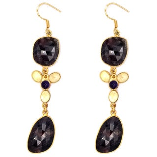 Orchid Jewelry One of a Kind 18k Gold Over Sterling Silver 63 1/8 Carat Sapphire, Amethyst and Quartz Earrings
