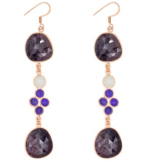 Orchid Jewelry One of a Kind Rose Gold Plated 925 Silver 55 Carat Sapphire, Amethyst and Moonstone Earrings