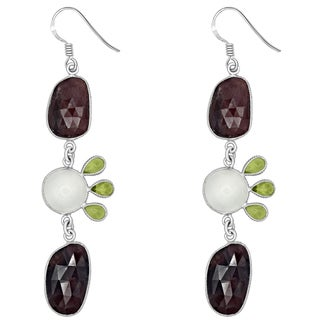 Orchid Jewelry One of a Kind 925 Sterling Silver 51 7/9 Carat Sapphire, Moonstone and Peridot Earrings
