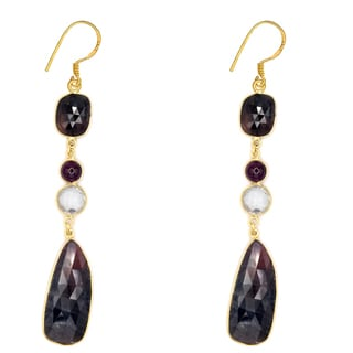Orchid Jewelry One of a Kind 18k Gold Over Sterling Silver 76 4/7 Carat Sapphire, Crystal Quartz and Ruby Earrings