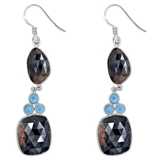 Orchid Jewelry One of a Kind 925 Sterling Silver 62 2/3 Carat Sapphire and Blue Topaz Earrings