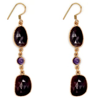 Orchid Jewelry One of a Kind Rose Gold Over Sterling Silver 38 Carat Sapphire and Amethyst Earrings