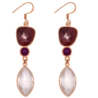 Orchid Jewelry One of a Kind Rose Gold Over Sterling Silver 49 1/2 Carat Rose Quartz, Ruby and Sapphire Earrings