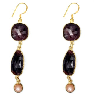 Orchid Jewelry One of a Kind 14k Gold Over Silver 50 1/8 Carat Sapphire and Moonstone Earrings