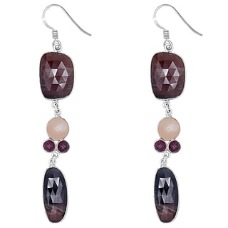 Orchid Jewelry One of a Kind 925 Sterling Silver 68 1/2 Carat Sapphire, Ruby and Moonstone Earrings