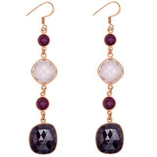 Orchid Jewelry One of a Kind Rose Gold Over Silver 59 2/3 Carat Sapphire, Rose Quartz and Ruby Earrings