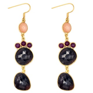 Orchid Jewelry One of a Kind 14k Gold Over Silver 66 1/6 Carat Sapphire, Orange Moonstone and Ruby Earrings