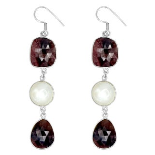 Orchid Jewelry One of a Kind 925 Sterling Silver 60 1/3 Carat Sapphire and Moonstone Earrings