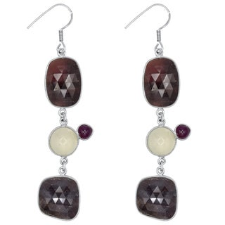 Orchid Jewelry One of a Kind 925 Sterling Silver 73 Carat Sapphire, Moonstone and Ruby Earrings