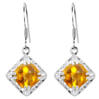 Orchid Jewelry 925 Sterling Silver 5 Carat Citrine Solitaire Earrings