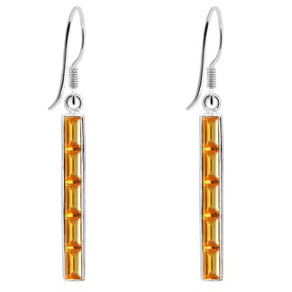 Orchid Jewelry 925 Sterling Silver 5 5/7 Carat Citrine Vertical Bar Earrings