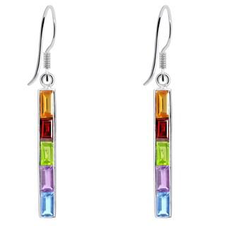 Orchid Jewelry 925 Sterling Silver 6 1/2 Carat Multi Gemstones Vertical Bar Earrings