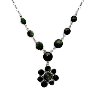 Orchid Jewelry 925 Sterling Silver 53 Carat Chrome Diopside Statement Necklace