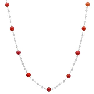 Orchid Jewelry 925 Sterling Silver 31 1/4 Carat Red Jasper and Crystal Quartz Beads Necklace